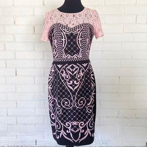 NUE BY SHANI Dress Pink Black Lace Size 8 X15